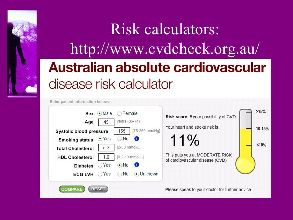 Risk calculators: http://www.cvdcheck.org.au/