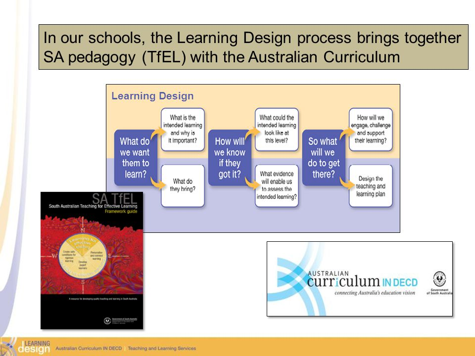 16 In our schools, the Learning Design process brings together SA pedagogy (TfEL) with the Australian Curriculum Learning Design