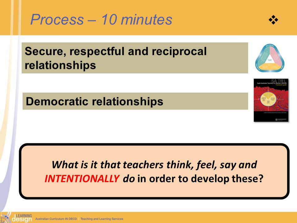 Process – 10 minutes  Secure, respectful and reciprocal relationships Democratic relationships What is it that teachers think, feel, say and INTENTIONALLY do in order to develop these