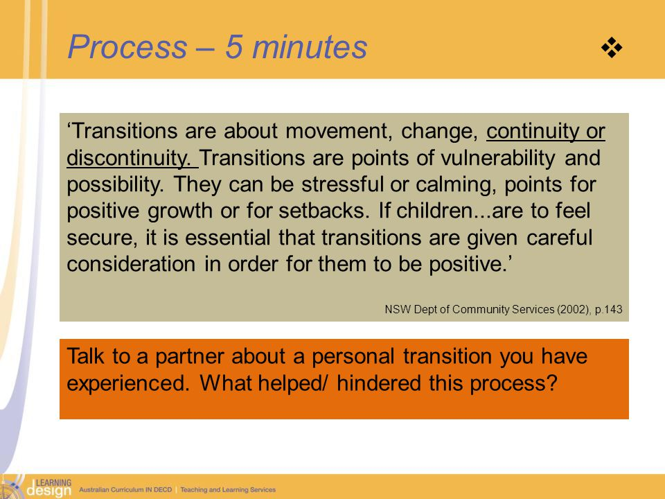 Process – 5 minutes  'Transitions are about movement, change, continuity or discontinuity.