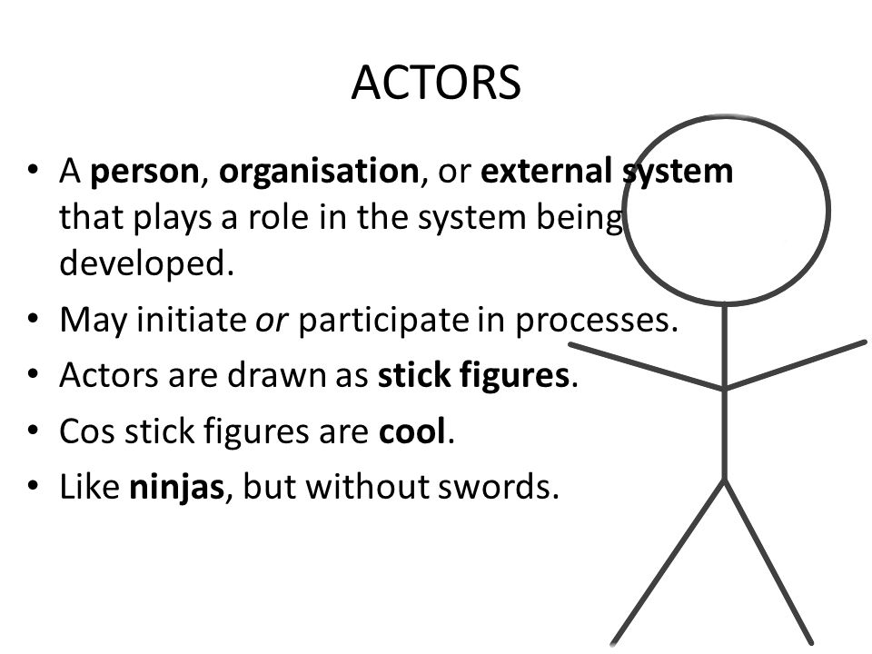 ACTORS A person, organisation, or external system that plays a role in the system being developed.