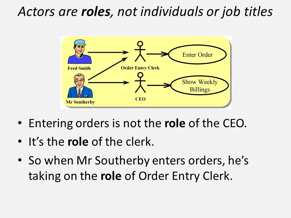 Entering orders is not the role of the CEO. It's the role of the clerk. So when Mr Southerby enters orders, he's taking on the role of Order Entry Cle