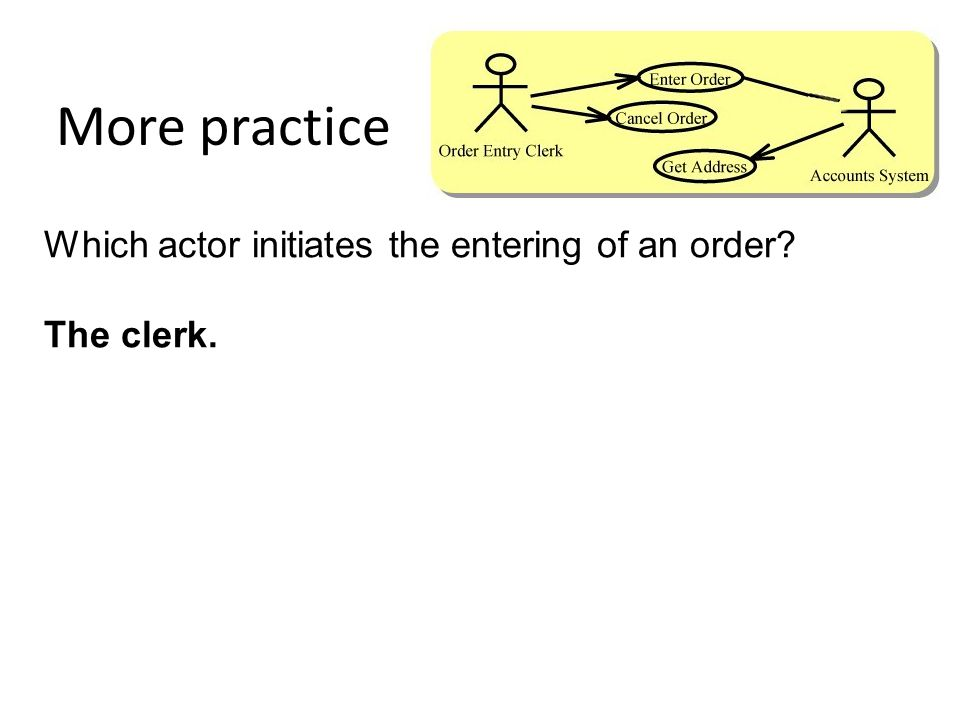 More practice Which actor initiates the entering of an order? The clerk.