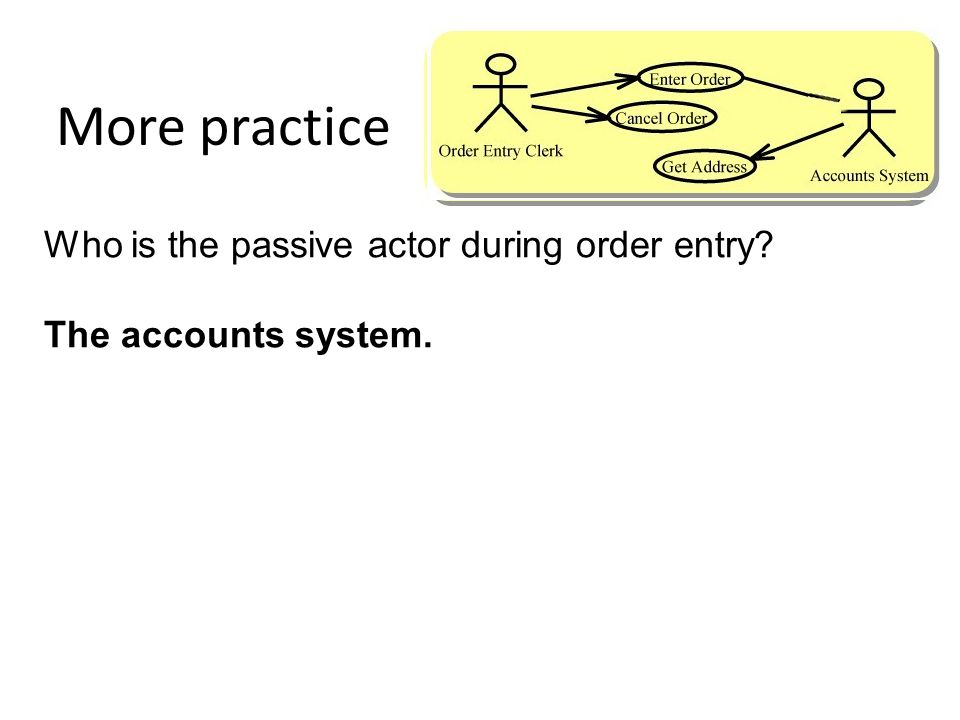 More practice Who is the passive actor during order entry? The accounts system.