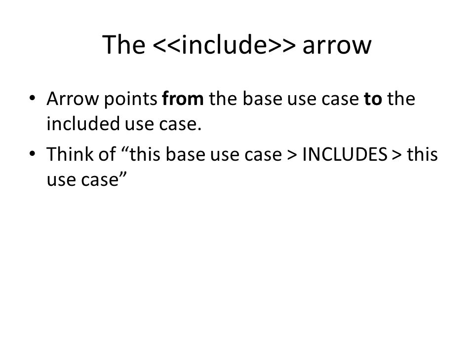 """The > arrow Arrow points from the base use case to the included use case. Think of """"this base use case > INCLUDES > this use case"""""""