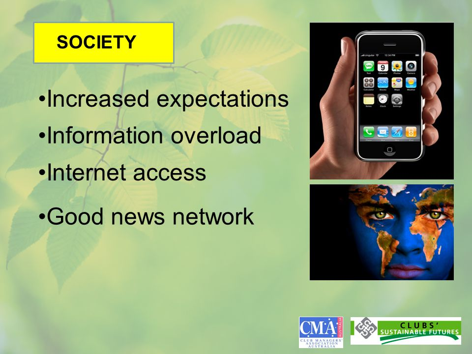 SOCIETY Increased expectations Information overload Internet access Good news network
