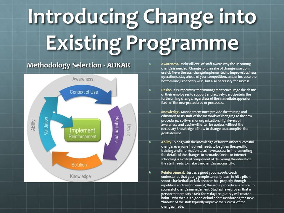 Introducing Change into Existing Programme Methodology Selection - ADKAR Awareness.