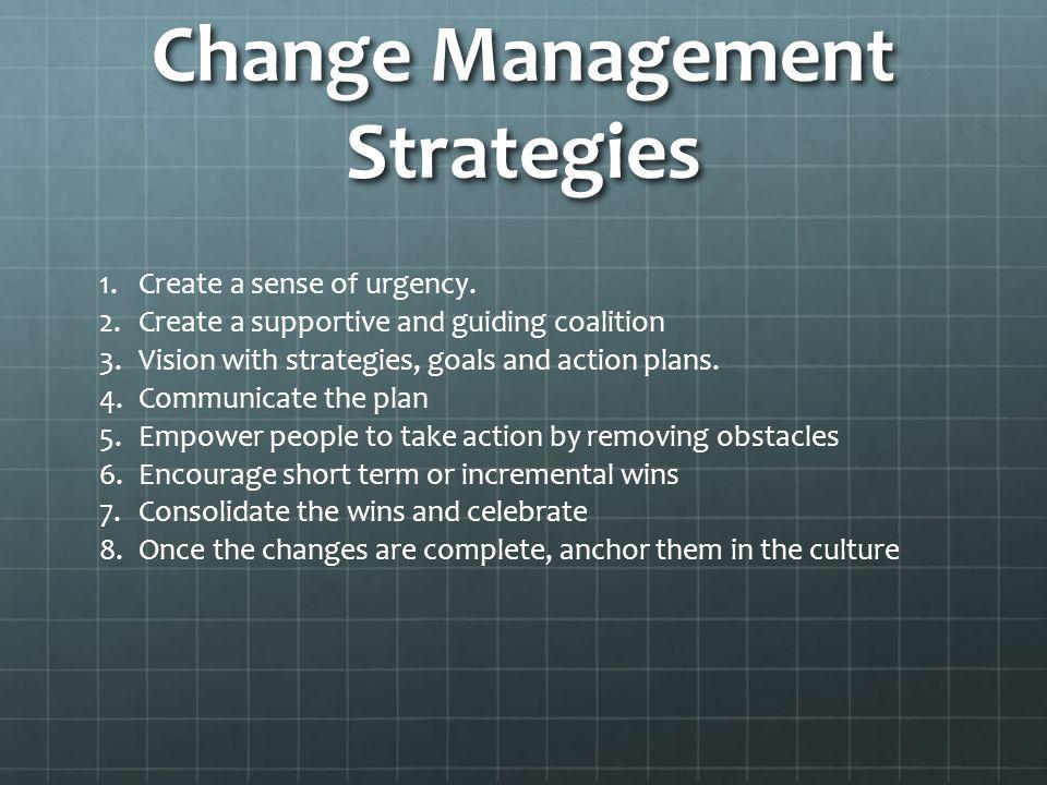 Change Management Strategies 1.Create a sense of urgency.
