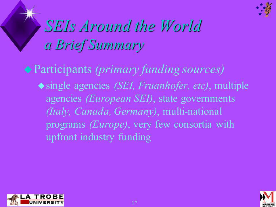 17 SEIs Around the World a Brief Summary  Participants (primary funding sources)  single agencies (SEI, Fruanhofer, etc), multiple agencies (European SEI), state governments (Italy, Canada, Germany), multi-national programs (Europe), very few consortia with upfront industry funding