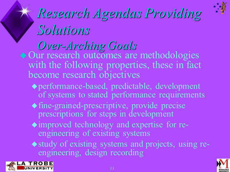 33 Research Agendas Providing Solutions Over-Arching Goals  Our research outcomes are methodologies with the following properties, these in fact become research objectives  performance-based, predictable, development of systems to stated performance requirements  fine-grained-prescriptive, provide precise prescriptions for steps in development  improved technology and expertise for re- engineering of existing systems  study of existing systems and projects, using re- engineering, design recording