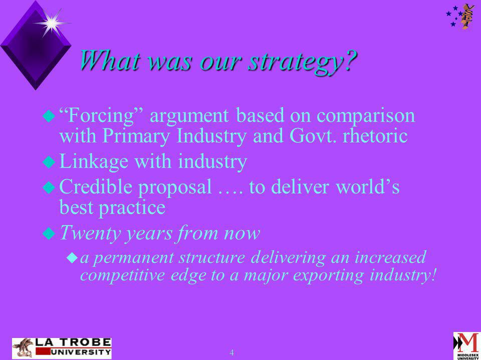 4 What was our strategy.  Forcing argument based on comparison with Primary Industry and Govt.