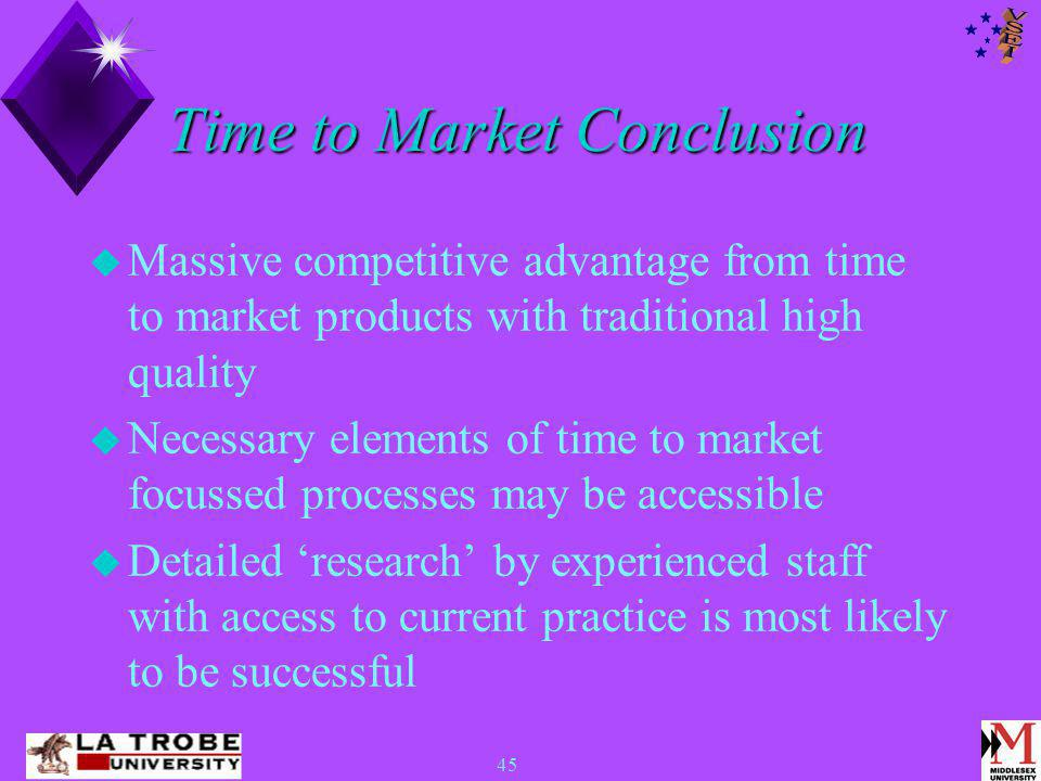 45 Time to Market Conclusion  Massive competitive advantage from time to market products with traditional high quality  Necessary elements of time to market focussed processes may be accessible  Detailed 'research' by experienced staff with access to current practice is most likely to be successful