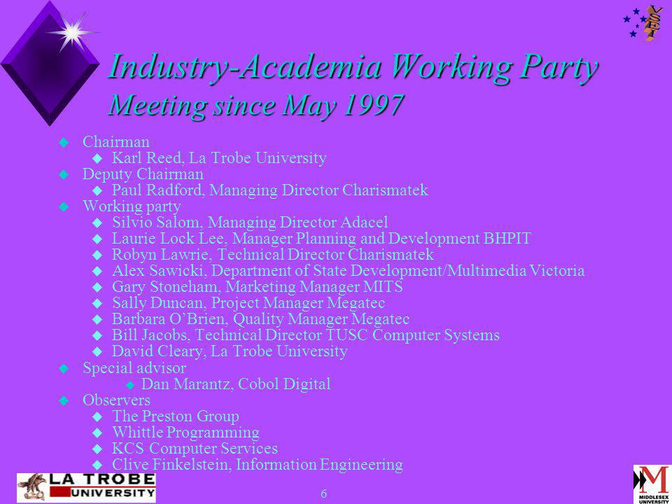 6 Industry-Academia Working Party Meeting since May 1997  Chairman  Karl Reed, La Trobe University  Deputy Chairman  Paul Radford, Managing Director Charismatek  Working party  Silvio Salom, Managing Director Adacel  Laurie Lock Lee, Manager Planning and Development BHPIT  Robyn Lawrie, Technical Director Charismatek  Alex Sawicki, Department of State Development/Multimedia Victoria  Gary Stoneham, Marketing Manager MITS  Sally Duncan, Project Manager Megatec  Barbara O'Brien, Quality Manager Megatec  Bill Jacobs, Technical Director TUSC Computer Systems  David Cleary, La Trobe University  Special advisor  Dan Marantz, Cobol Digital  Observers  The Preston Group  Whittle Programming  KCS Computer Services  Clive Finkelstein, Information Engineering