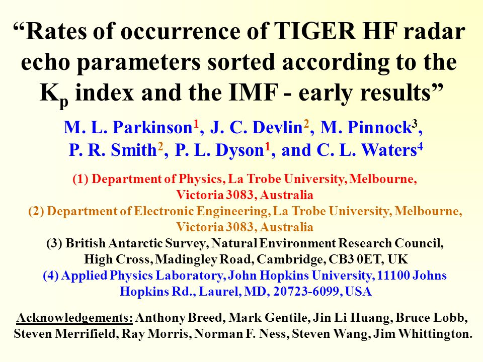 Rates of occurrence of TIGER HF radar echo parameters sorted according to the K p index and the IMF - early results M.