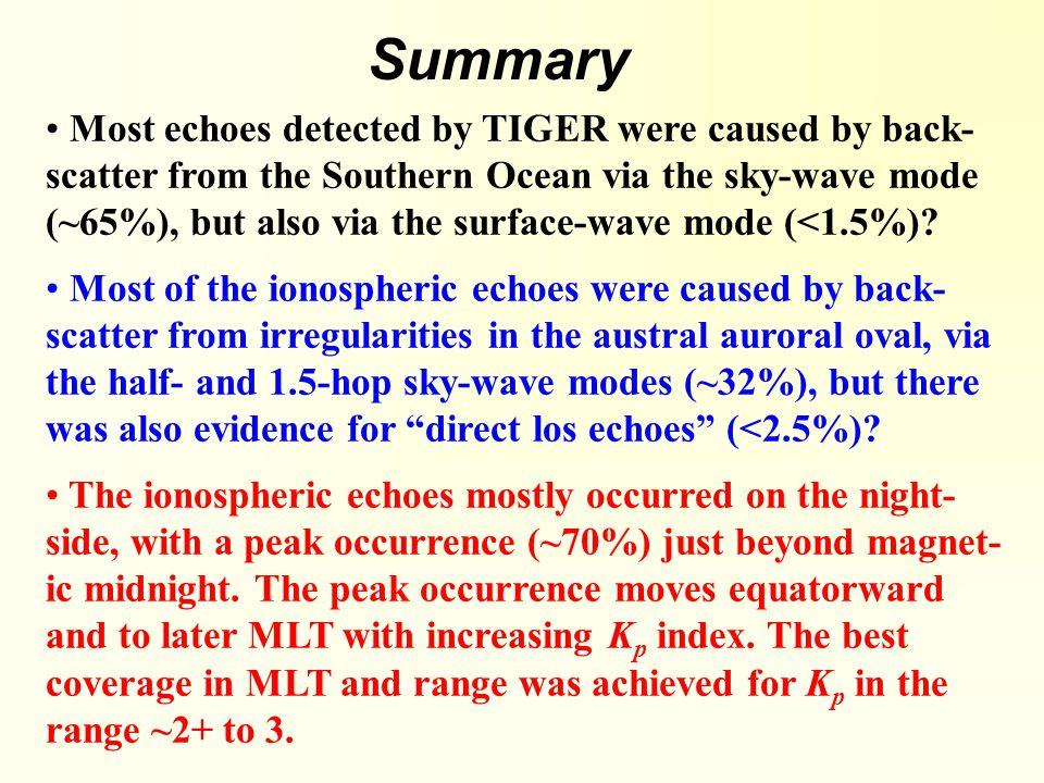 Summary Most echoes detected by TIGER were caused by back- scatter from the Southern Ocean via the sky-wave mode (~65%), but also via the surface-wave mode (<1.5%).