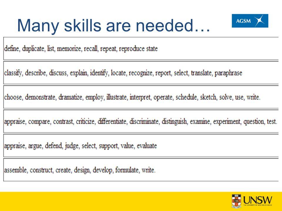 Many skills are needed…