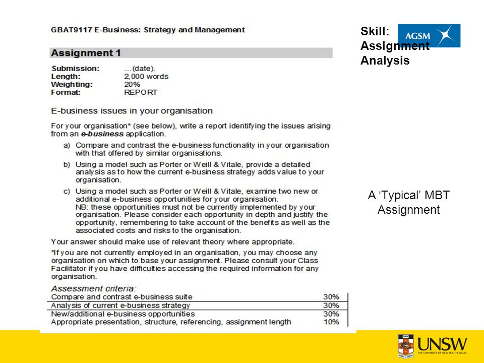 Skill: Assignment Analysis A 'Typical' MBT Assignment