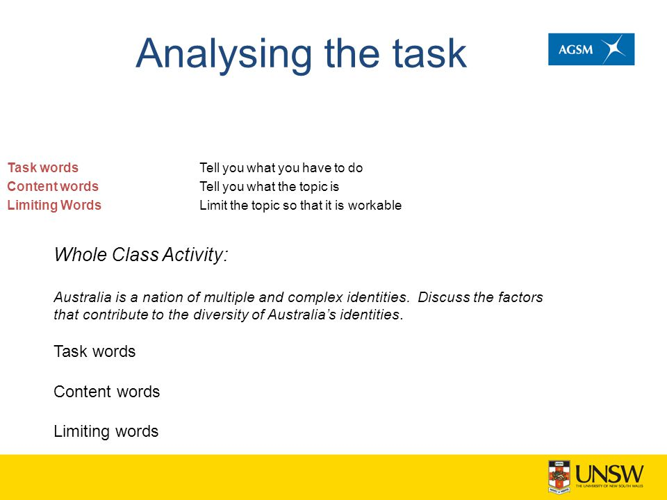 Analysing the task Task words Content words Limiting Words Tell you what you have to do Tell you what the topic is Limit the topic so that it is workable Whole Class Activity: Australia is a nation of multiple and complex identities.