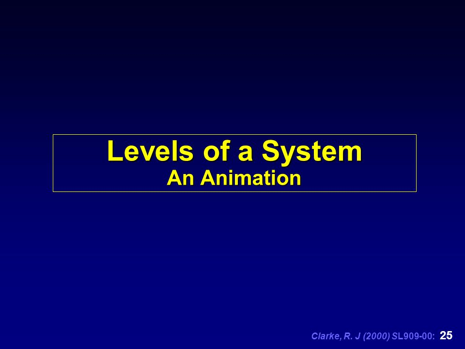 Clarke, R. J (2000) SL909-00: 25 Levels of a System An Animation