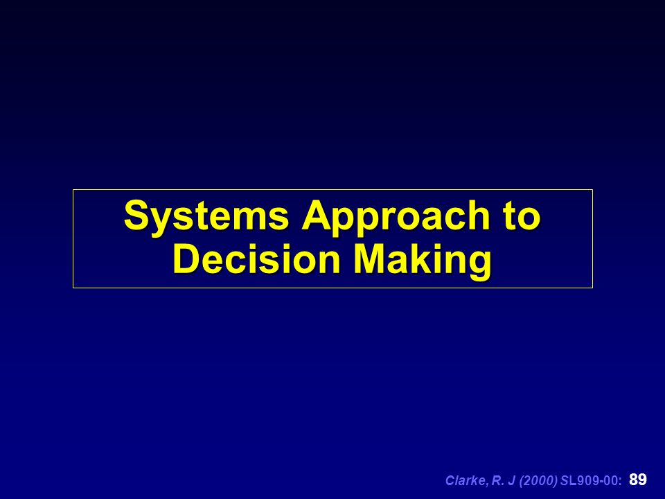 Clarke, R. J (2000) SL909-00: 89 Systems Approach to Decision Making