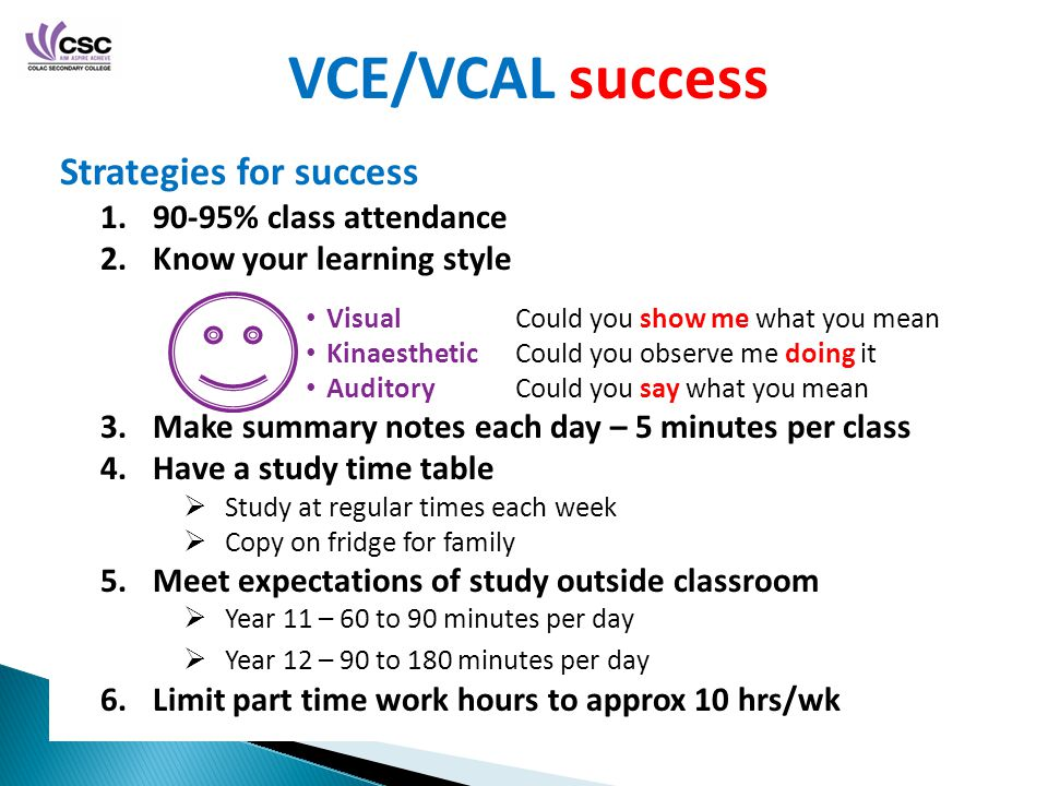 VCE/VCAL success Strategies for success % class attendance 2.Know your learning style 3.Make summary notes each day – 5 minutes per class 4.Have a study time table  Study at regular times each week  Copy on fridge for family 5.Meet expectations of study outside classroom  Year 11 – 60 to 90 minutes per day  Year 12 – 90 to 180 minutes per day 6.