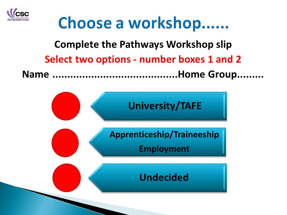Complete the Pathways Workshop slip Select two options - number boxes 1 and 2 Name Home Group
