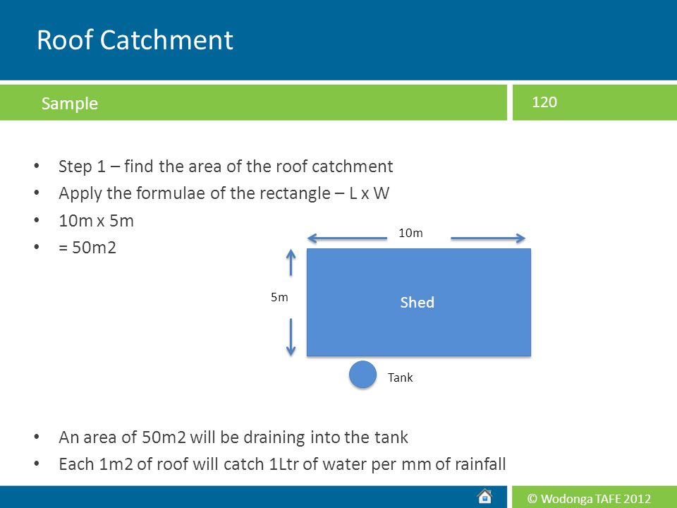© Wodonga TAFE 2012 Step 1 – find the area of the roof catchment Apply the formulae of the rectangle – L x W 10m x 5m = 50m2 An area of 50m2 will be d