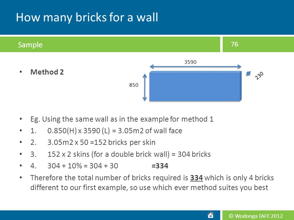 © Wodonga TAFE 2012 Method 2 Eg. Using the same wall as in the example for method 1 1. 0.850(H) x 3590 (L) = 3.05m2 of wall face 2. 3.05m2 x 50 =152 b