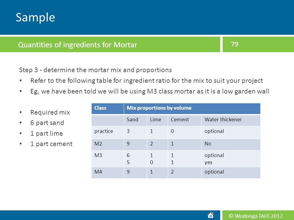 © Wodonga TAFE 2012 Step 3 - determine the mortar mix and proportions Refer to the following table for ingredient ratio for the mix to suit your proje