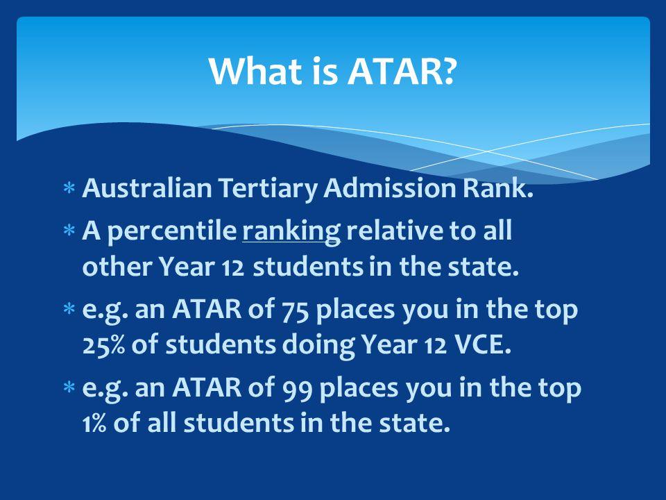  Australian Tertiary Admission Rank.