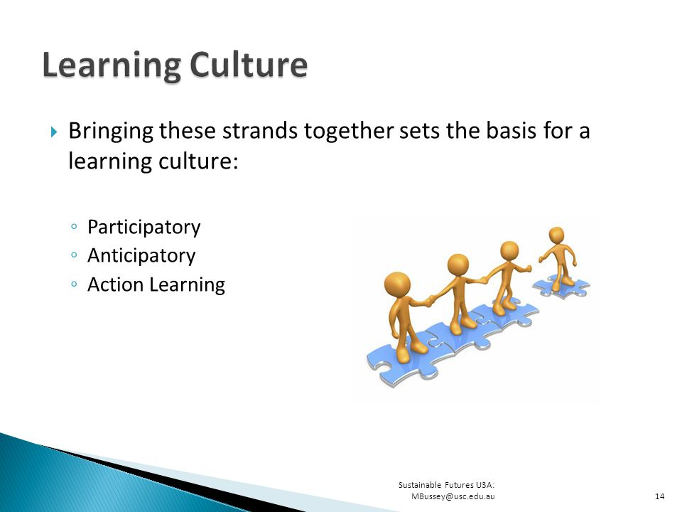  Bringing these strands together sets the basis for a learning culture: ◦ Participatory ◦ Anticipatory ◦ Action Learning Sustainable Futures U3A: MBussey@usc.edu.au14