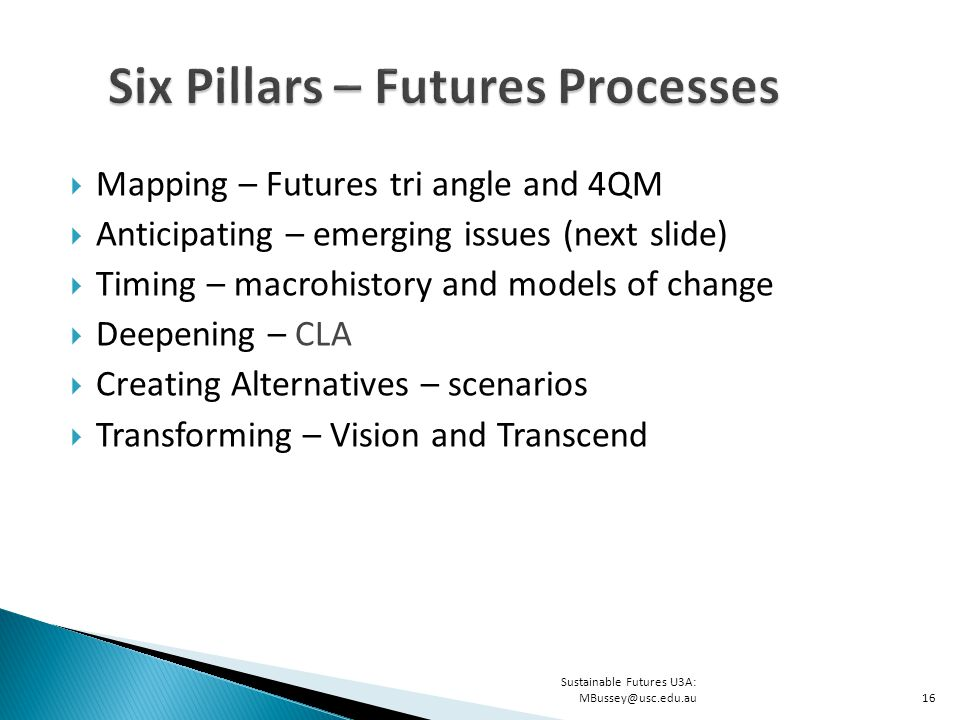 Sustainable Futures U3A: MBussey@usc.edu.au16  Mapping – Futures tri angle and 4QM  Anticipating – emerging issues (next slide)  Timing – macrohistory and models of change  Deepening – CLA  Creating Alternatives – scenarios  Transforming – Vision and Transcend