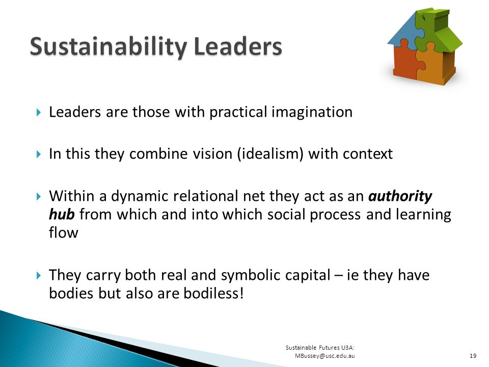  Leaders are those with practical imagination  In this they combine vision (idealism) with context  Within a dynamic relational net they act as an authority hub from which and into which social process and learning flow  They carry both real and symbolic capital – ie they have bodies but also are bodiless.