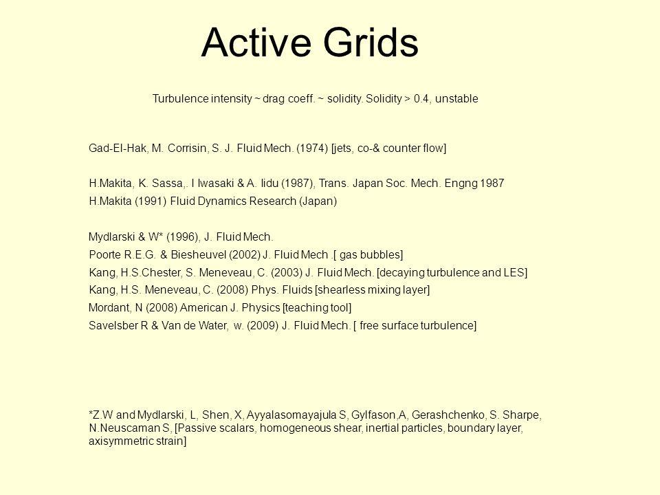Active Grids Gad-El-Hak, M. Corrisin, S. J. Fluid Mech.