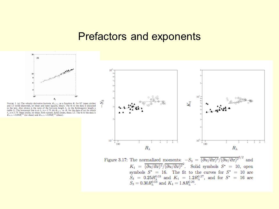 Prefactors and exponents