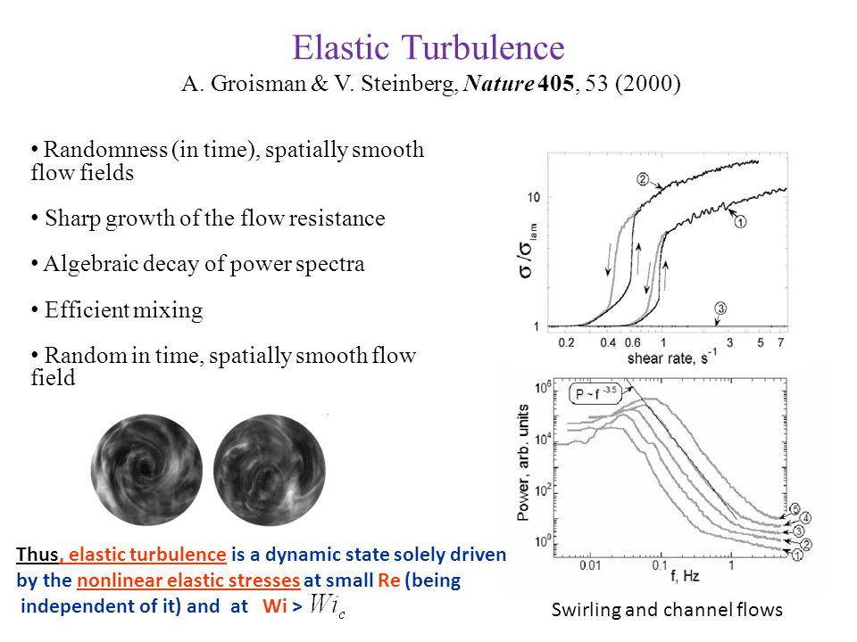 Elastic Turbulence A. Groisman & V. Steinberg, Nature 405, 53 (2000) Randomness (in time), spatially smooth flow fields Sharp growth of the flow resis