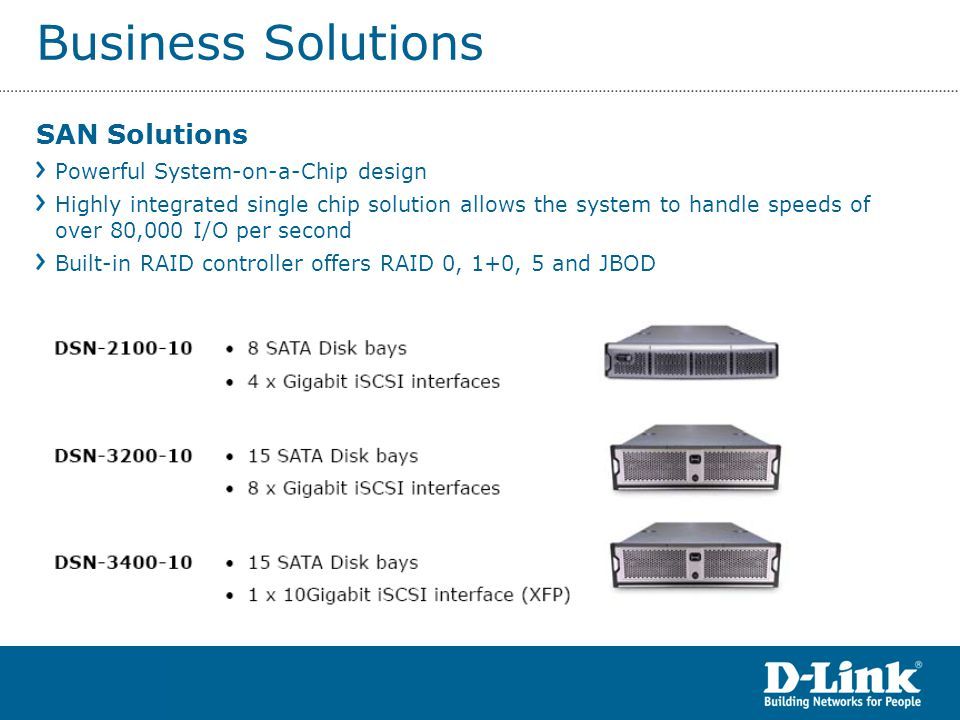 Business Solutions SAN Applications IP Video Surveillance Telecom, ISP, Carrier internal network storage Storage Services Provider Finance Education Entertainment VOD Real-time Video storing, editing, and broadcasting High Performance Computing IPTV Web Video Streaming