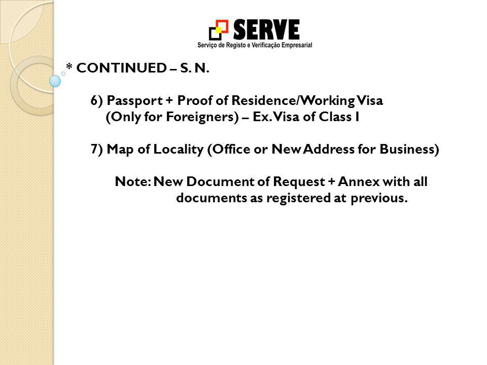 * CONTINUED – S. N. 6) Passport + Proof of Residence/Working Visa (Only for Foreigners) – Ex.