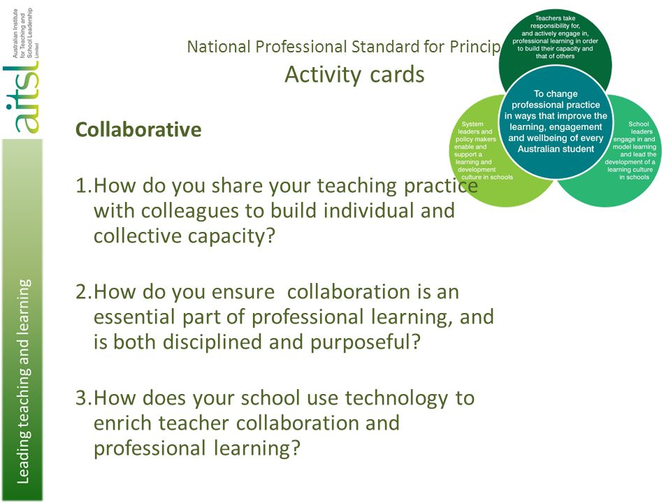 National Professional Standard for Principals Activity cards Collaborative 1.How do you share your teaching practice with colleagues to build individual and collective capacity.