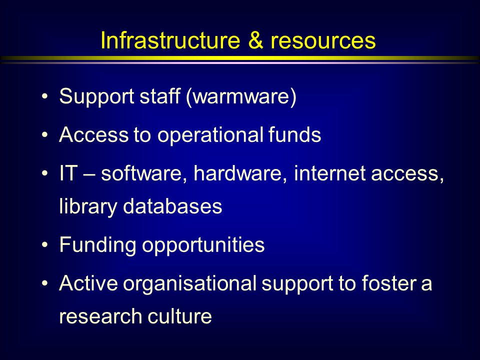 Infrastructure & resources Support staff (warmware) Access to operational funds IT – software, hardware, internet access, library databases Funding opportunities Active organisational support to foster a research culture