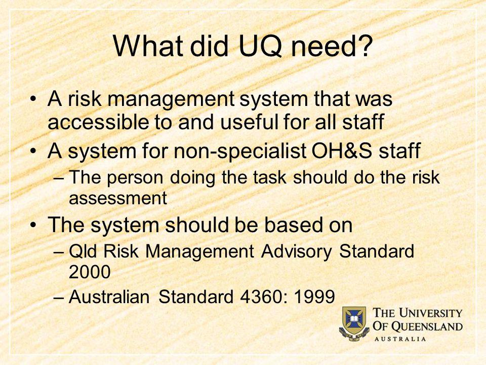 What did UQ need.