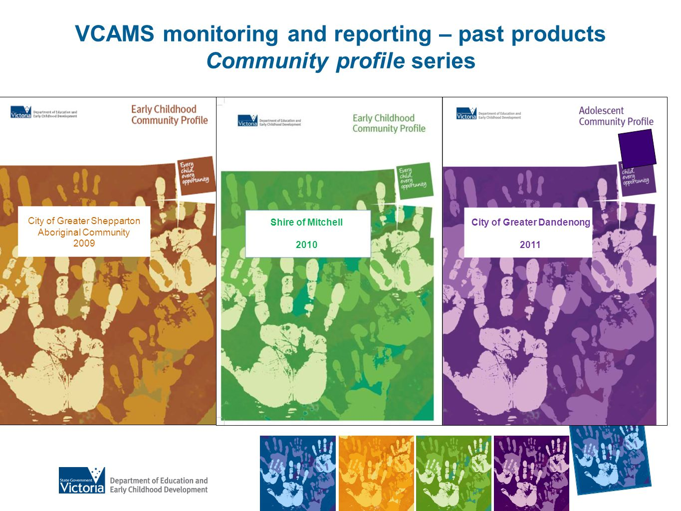 VCAMS monitoring and reporting – past products Community profile series City of Greater Shepparton Aboriginal Community 2009 Shire of Mitchell 2010 City of Greater Dandenong 2011