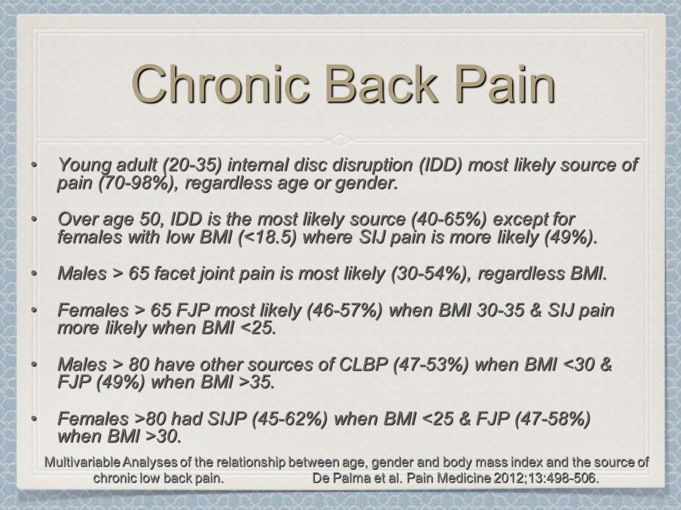 Chronic Back Pain Young adult (20-35) internal disc disruption (IDD) most likely source of pain (70-98%), regardless age or gender.Young adult (20-35)