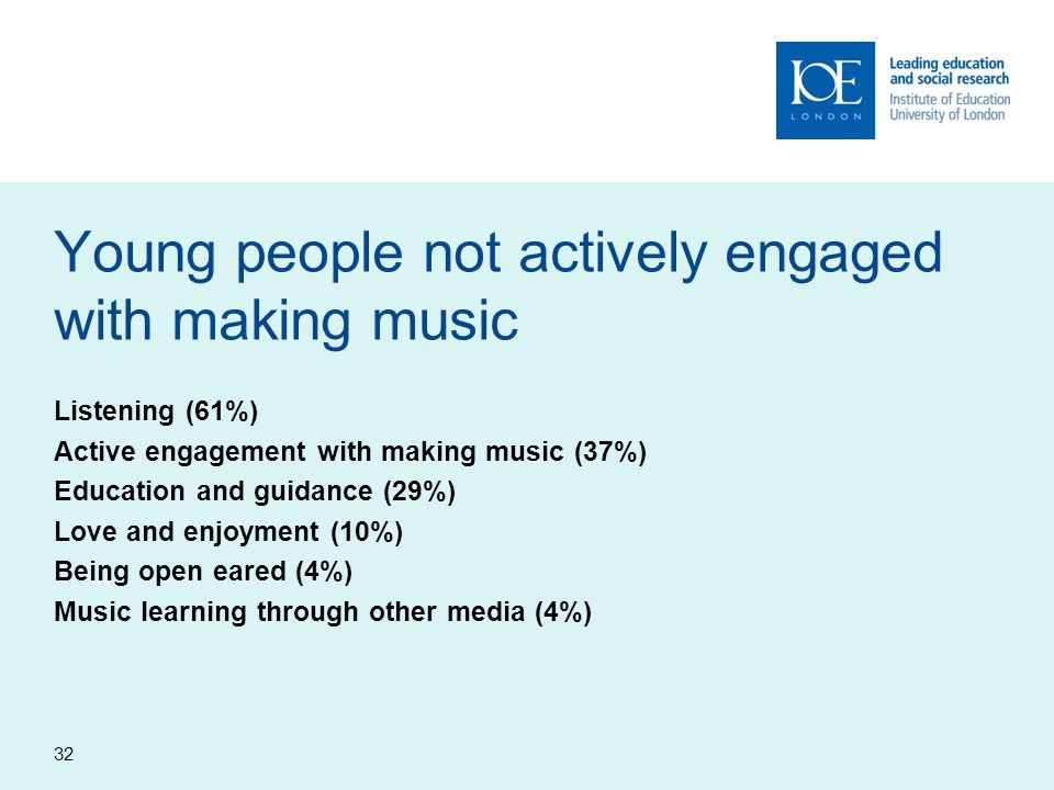 Young people not actively engaged with making music Listening (61%) Active engagement with making music (37%) Education and guidance (29%) Love and enjoyment (10%) Being open eared (4%) Music learning through other media (4%) 32