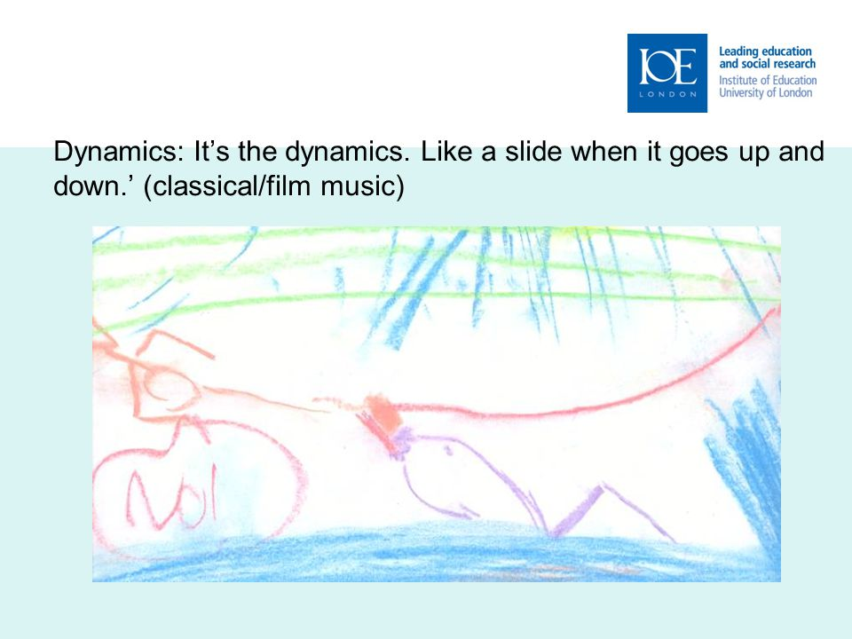 Dynamics: It's the dynamics. Like a slide when it goes up and down.' (classical/film music)