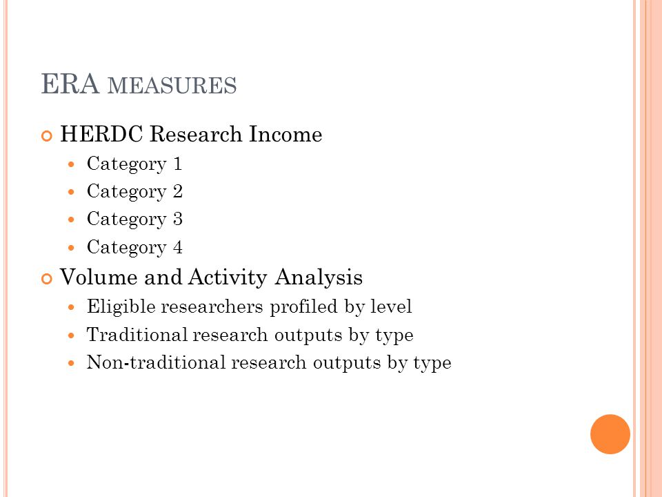 HERDC Research Income Category 1 Category 2 Category 3 Category 4 Volume and Activity Analysis Eligible researchers profiled by level Traditional research outputs by type Non-traditional research outputs by type ERA MEASURES
