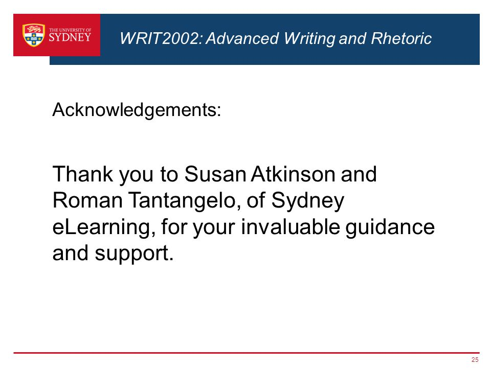 Acknowledgements: Thank you to Susan Atkinson and Roman Tantangelo, of Sydney eLearning, for your invaluable guidance and support.