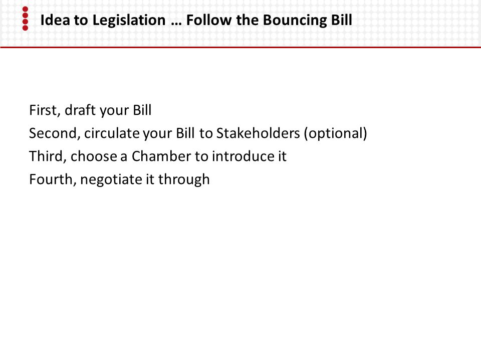 Idea to Legislation … Follow the Bouncing Bill First, draft your Bill Second, circulate your Bill to Stakeholders (optional) Third, choose a Chamber to introduce it Fourth, negotiate it through