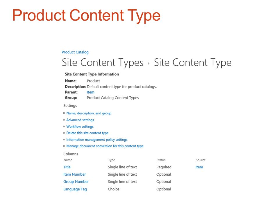 Product Content Type