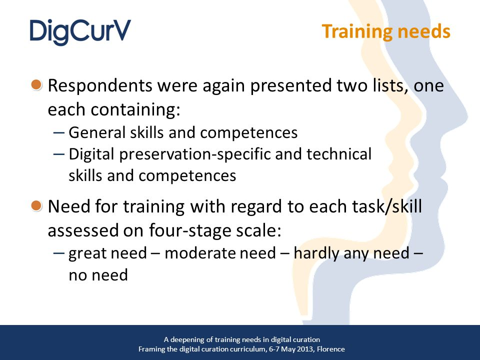Respondents were again presented two lists, one each containing: – General skills and competences – Digital preservation-specific and technical skills and competences Need for training with regard to each task/skill assessed on four-stage scale: – great need – moderate need – hardly any need – no need A deepening of training needs in digital curation Framing the digital curation curriculum, 6-7 May 2013, Florence Training needs